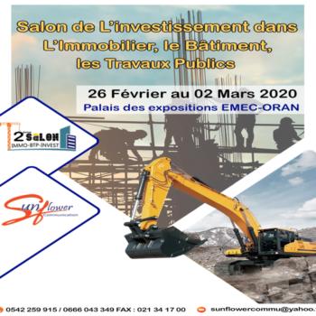 La SCIBS participe au Salon de L'investissement dans l'Immobilier, le Bâtiment, et les Travaux Publics du 26 février au 02 Mars 2020 au Palais des expositions EMEC-ORAN.